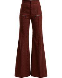 Chloé Little Horses High-rise Wool-blend Trousers - Multicolour