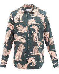 Desmond & Dempsey キルケー ライオン コットンパジャマシャツ - マルチカラー