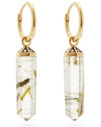 Noor Fares Rutilated Diamond, Quartz & 18kt Gold Earrings - Metallic