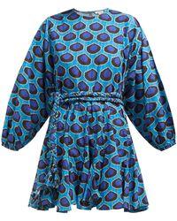 RHODE Ella Ikat-print Flared Cotton-poplin Dress - Blue