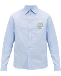 f6b7e80cf Gucci Dragon Embroidered Oxford Shirt in Blue for Men - Lyst