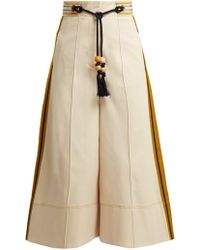 Peter Pilotto - High Rise Wide Leg Twill Trousers - Lyst