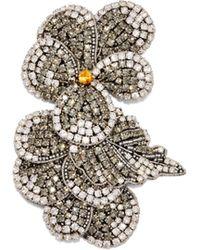 Rochas Crystal Embellished Flower Brooch - Multicolour