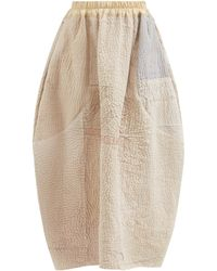 By Walid Nadia Patchwork Vintage-cotton Midi Skirt - Natural