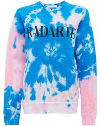 Rodarte Logo-print Tie-dye Cotton-blend Sweatshirt - Blue