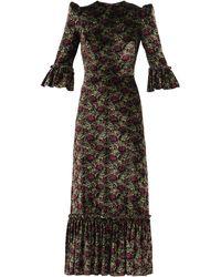 The Vampire's Wife The Festival Poppy-print Velvet Midi Dress - Black