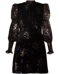 Rebecca Taylor - Puff-sleeve Violet-print Velvet Dress - Lyst