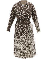 Ferragamo Drawcord Giraffe-print Linen Trench Coat - Multicolour