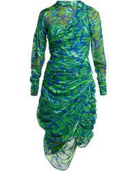 Preen By Thornton Bregazzi Lynn Devoré Silk Blend Dress - Green