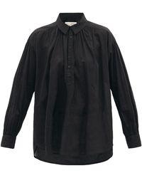 Nili Lotan Miles Gathered Cotton-voile Shirt - Black