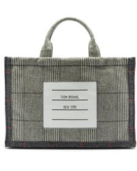 Thom Browne Logo-label Glen-check Wool-twill Tote - Gray