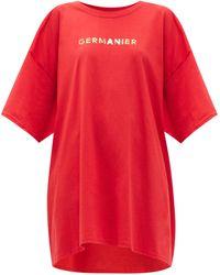 Germanier Oversized Logo-print Cotton-jersey T-shirt - Red