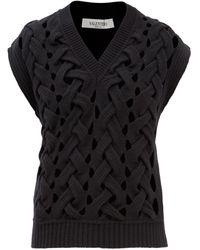 Valentino ウールブレンド ノースリーブセーター - ブラック
