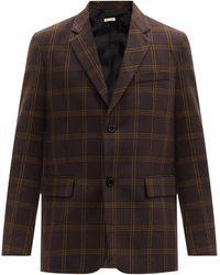 Marni チェック ウールシルク シングルジャケット - マルチカラー