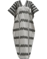 Pippa Holt No.212 Embroidered Cotton Kaftan - Grey