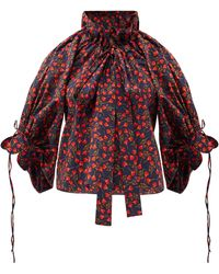 Horror Vacui Haut en popeline de coton à imprimé floral Alice - Rouge