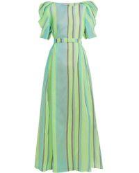 Vika Gazinskaya Puff Sleeved Striped Organza Gown - Green