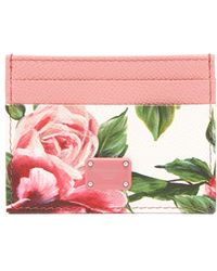 Dolce & Gabbana - Rose Print Leather Cardholder - Lyst