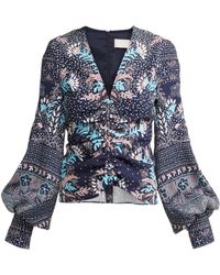 Peter Pilotto - Printed Ruched Seersucker Blouse - Lyst