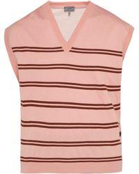 Lanvin - Striped V Neck Wool Blend Jumper - Lyst