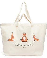 Maison Kitsuné Yoga Fox-print Cotton-canvas Tote Bag - Natural