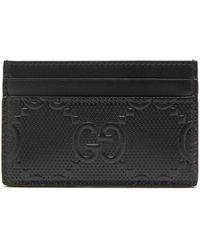 Gucci GGエンボス レザーカードケース - ブラック