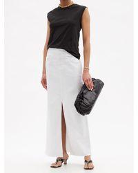 FRAME Jupe longue taille haute en denim à fente - Blanc