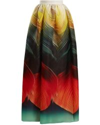 Mary Katrantzou | Nyx Folk-print Silk-organza Maxi Skirt | Lyst