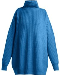 Raey Displaced Sleeve Ribbed Roll Neck Wool Jumper - Blue