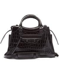 Balenciaga ネオクラシック シティ クロコダイルパターンレザーバッグ - ブラック