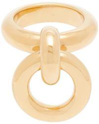 Bottega Veneta Bague en argent sterling plaqué or à charm anneau - Métallisé