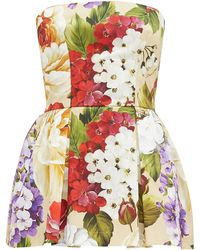 Dolce & Gabbana Peony And Violet-print Cotton Skort Playsuit - Multicolour