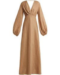 Kalita Utopia Balloon Sleeve Linen Maxi Dress - Natural