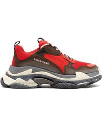 Balenciaga Capsule Triple S Runner Leather And Mesh Sneakers - Red