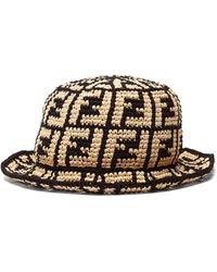 Fendi Ff Woven Bucket Hat - Black