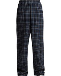 Balenciaga - Brushed Cotton Checked Trousers - Lyst