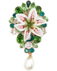 Dolce & Gabbana - Crystal Embellished Lily And Pearl Brooch - Lyst