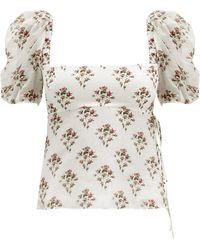 Brock Collection Puff-sleeve Floral Cotton-blend Top - Multicolor