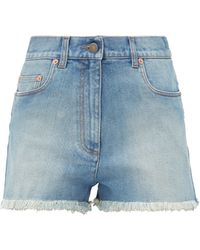 Gucci Cherry-embroidered Denim Shorts - Blue
