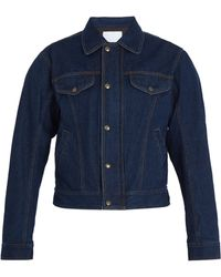 GmbH - Cem Padded Shoulder Denim Biker Jacket - Lyst