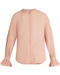 Bliss and Mischief - Ruffled-cuff Poplin Blouse - Lyst