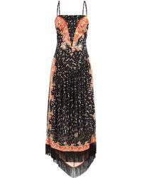 Paco Rabanne フリンジヘム フローラル クレープドレス - ブラック