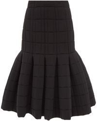 A.W.A.K.E. MODE Quilted Pleated Midi Skirt - Black