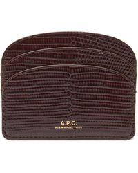 A.P.C. Genève Lizard-effect Leather Wallet - Brown