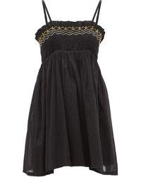 Anaak Rosa Shirred Cotton-khadi Mini Dress - Black