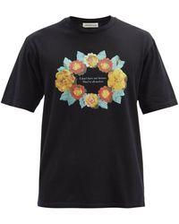 Undercover フローラル&クォートプリント コットンtシャツ - ブラック