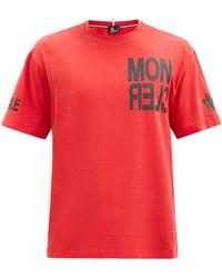 3 MONCLER GRENOBLE ロゴ コットンtシャツ - レッド
