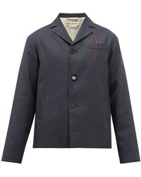 Marni ハウンドトゥースチェック シングルウールジャケット - ブルー