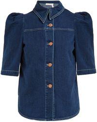 e1b9ffa785ecf See By Chloé - Puffed Sleeve Denim Shirt - Lyst