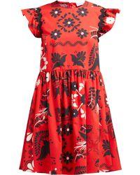RED Valentino - Ruffle Sleeve Floral Print Cotton Mini Dress - Lyst